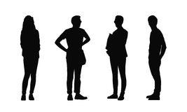 People standing outdoor silhouettes set 32 Stock Illustration
