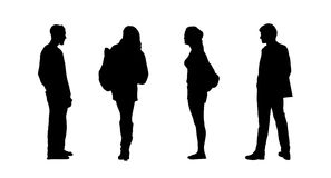 People standing outdoor silhouettes set 26 Royalty Free Stock Photos