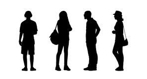 People standing outdoor silhouettes set 25 Stock Photo