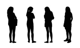 People standing outdoor silhouettes set 16 Stock Image