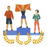 People standing on podium, awarded with medals, trophies. Man and woman winning first, second, third place in. Competition. Awards ceremony. Human in stands vector illustration