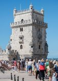 People. People standing in a queue to popular Belem tower stock photo