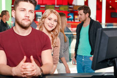 People standing in queue Royalty Free Stock Image