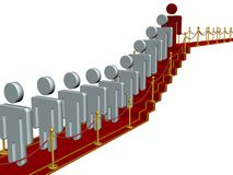 People standing on a red carpet path. Royalty Free Stock Images