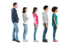People Standing In A Row stock photo