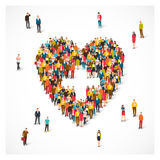 People are standing in the shape of heart stock illustration