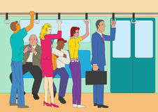 People standing and sitting in the train. Naive art or cartoon illustration of people standing and sitting in the train, commuter line theme Stock Photos