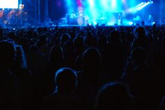 People Standing in Stadium While Watching the Concert Stock Photo