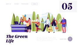 People Standing in Store Queue with Reusable Packaging in Hands. Male and Female Characters Using Eco Packing for Shopping. Website Landing Page, Web Page vector illustration