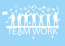 People standing on text teamwork with cheerful, business teamwork concept royalty free stock images