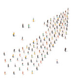 People standing together in shape of an arrow Stock Image