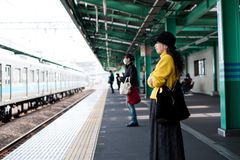 People Standing on Train Station Royalty Free Stock Photos