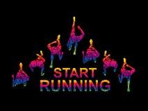 People start running top view graphic vector. People start running top view illustration graphic vector stock illustration