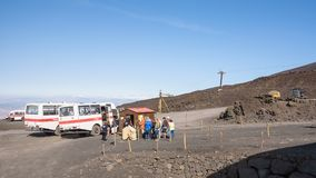 People start their journey to the top of Mount Etna royalty free stock photo