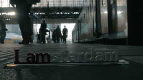 People at the station of Amsterdam stock video