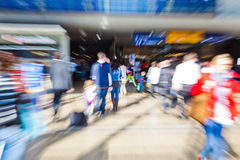 People at the station with zoom effect Stock Photo
