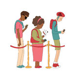 People stay in line and watching their mobile phone. Illustration in vector. Stock Photos