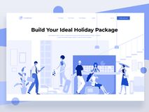 People stay near the hotel registration desk and book a room while interacting with devices. Vector illustration. Landing page. People stay near the vector illustration