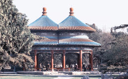 People stay in a pavilion in Temple of Heaven. The double rings pavilion in Temple of Heaven Stock Photos