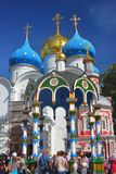 People stay in queue in Trinity Sergius Lavra Royalty Free Stock Photo