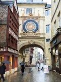 People on steet Rue du Gros-Horloge, Rouen Royalty Free Stock Image