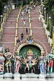 People on steps entrance to batu caves temple Kuala Lumpur Royalty Free Stock Image