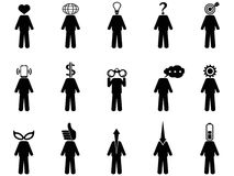 People Stick Figure Characteristic Mind Icons set. The symbol of People Stick Figure Characteristic Mind Stock Photography