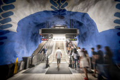 People in Stockholm metro station, Sweden, Europe Royalty Free Stock Images