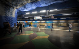People in Stockholm metro station, Sweden, Europe Royalty Free Stock Photography
