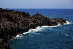 People stone volcanic spain  water coast in lanzarote Stock Photo