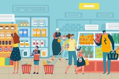 People in store. Customer choose food supermarket family cart shopping product assortment grocery store interior concept. People in store. Customer choose food stock illustration