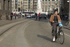 People on the street in Amsterdam Royalty Free Stock Photo