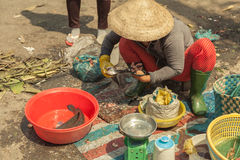 People on the street of asian country - Vietnam and Cambodia Stock Photo