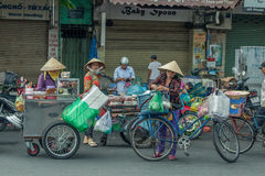 People on the street of asian country - Vietnam and Cambodia Royalty Free Stock Image