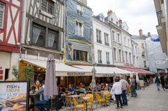 People in a street cafe in Orleans, France Royalty Free Stock Photography
