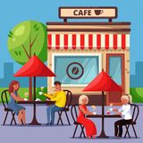 People in street cafe vector illustration. Couple drinking coffee and having breakfast. City lifestyle concept. vector illustration