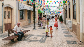 People on street in center of Sives city Stock Photography
