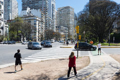People in a street in the city of Buenos Aires, in Argentina Royalty Free Stock Images