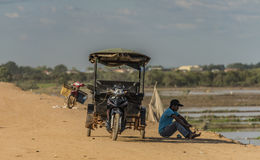 People in street and countryside in Siem Reap Stock Images