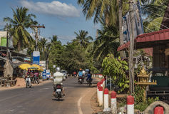 People in street and countryside in Siem Reap Royalty Free Stock Photography