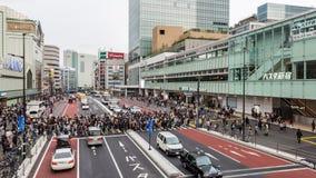 People for street crossing at Shinjuku Express Bus Terminal. Royalty Free Stock Image