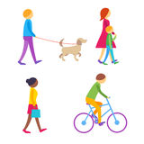 People on the street.  Flat vector icons. People on the street.  Set of colorful flat vector icons Stock Photos