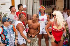 People at street in Gay pride parade in Sitges Stock Image