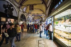 People on street in Grand Bazaar in Istanbul city Royalty Free Stock Photo