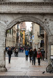 People on the street in the historic city center of Verona. Stock Images