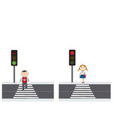 People on the street. Illustration of people crossing the street in the city royalty free illustration