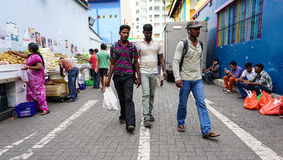 People on street in Little India, Singapore Royalty Free Stock Images