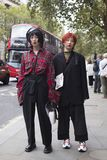 People on the street during the London Fashion Week. royalty free stock photo