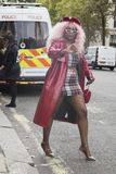 People on the street during the London Fashion Week. royalty free stock photography