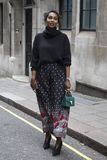 People on the street during the London Fashion Week. royalty free stock image